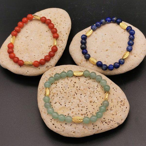 bracelet perles dorées haute qualité corail bambou ou lapis lazuli ou aventurine soleyana création bijoux pierres semi précieuses
