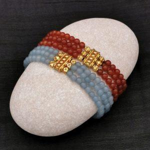 bracelets précieux en cornaline ou aigue marine