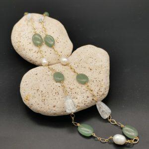 collier sautoir aventurine cristal de roche craquelé perles d'eau douce soleyana création bijoux pierres semi précieuses
