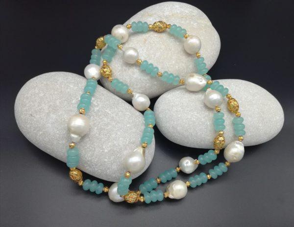 Collier perles d'eau perles plaqué or soleyana création bijoux pierres semi précieuses