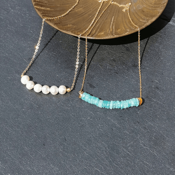 pendentifs amazonite et perles d'eau douce