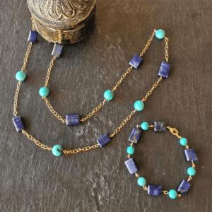 sautoir et bracelet turquoise et lapis lazuli